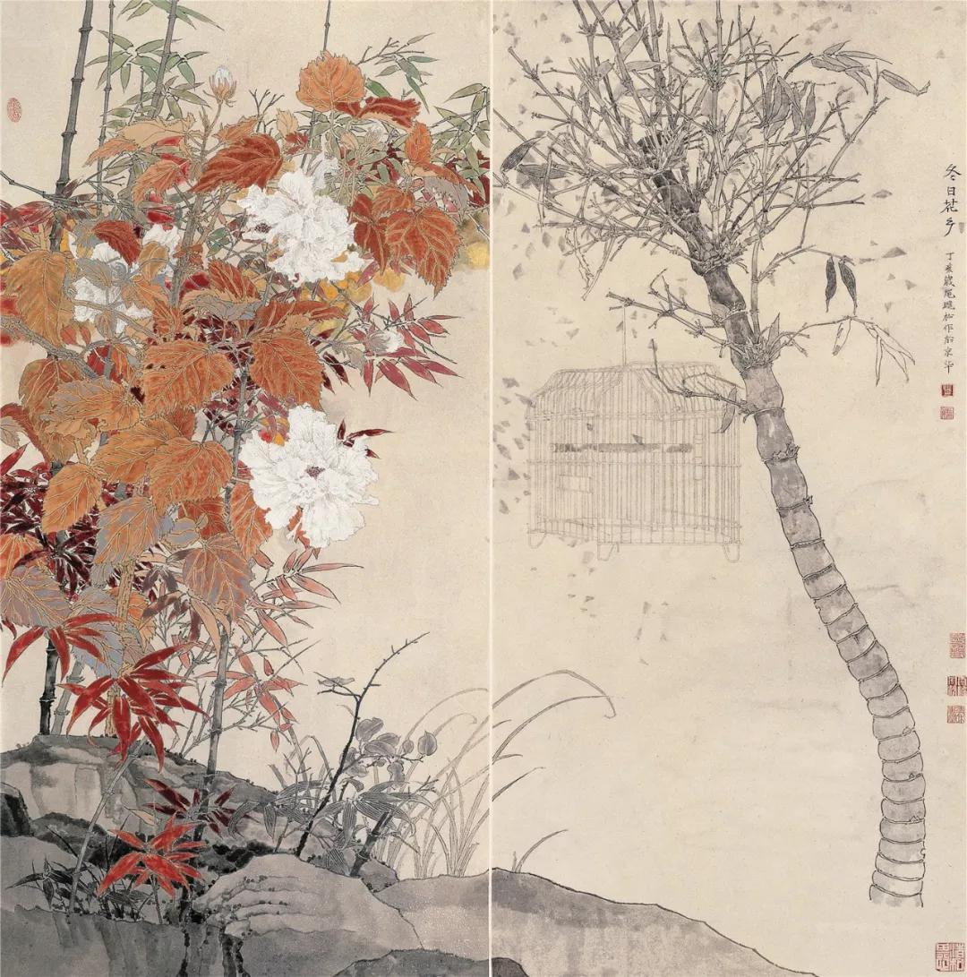 《冬日花乡》 莫晓松 133×130.5 cm 2007年 纸本设色 北京画院藏