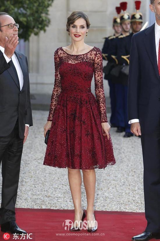 西班牙王后亮相法国国宴