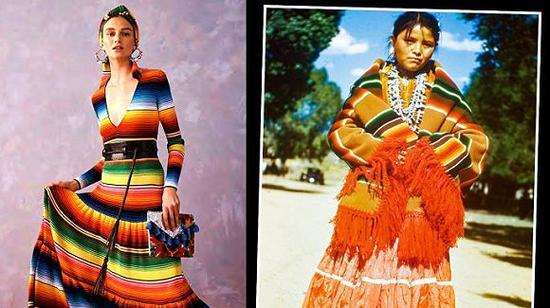 CarolinaHerrera 2020度假系列和墨西哥萨尔提略市瑟拉佩裙的对比