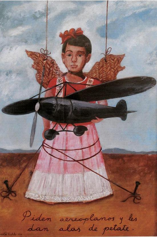 《自画像和一架飞机》,展览中呈现的是这张作品的草图。(pic/pinterest)