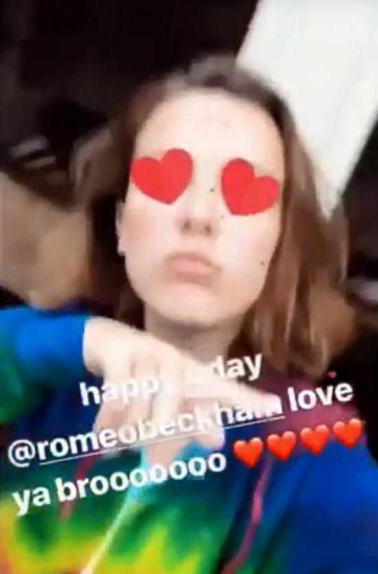 米莉·博比·布朗曾给罗密欧送生日祝福