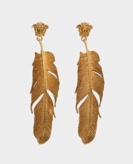 金色羽毛造型耳饰 Versace