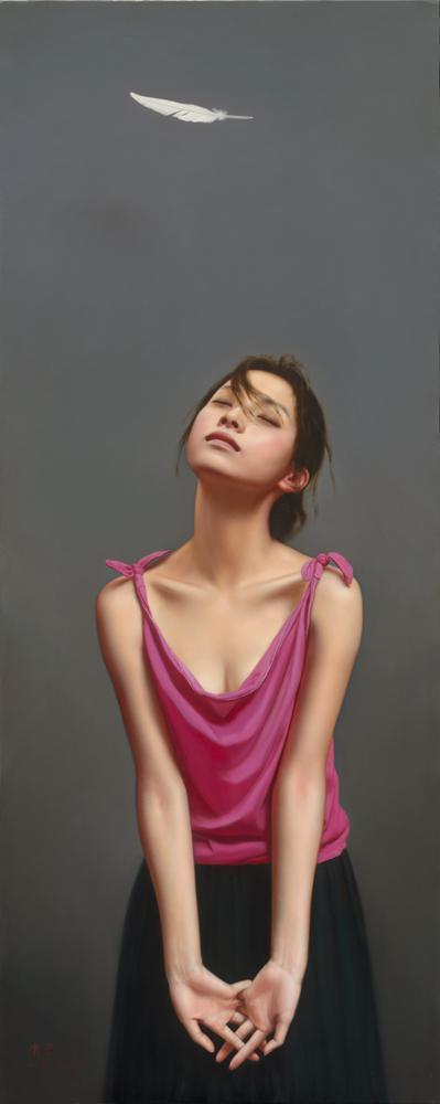 《感觉你的存在》布面油画156x62cm 2011年 著名导演冯小刚收藏