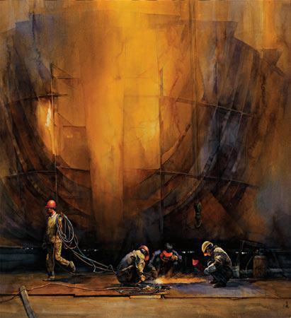 焦立强作品《工业备忘录之沸腾的船坞》