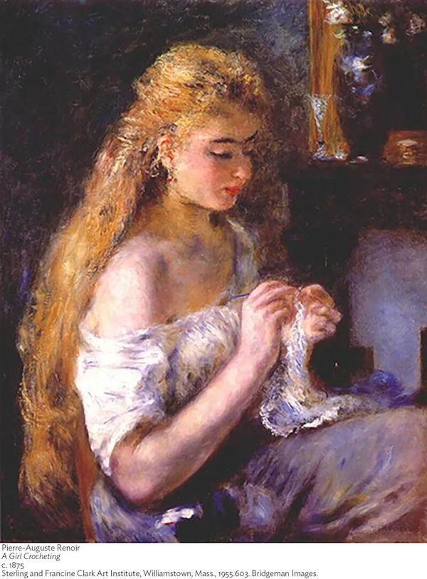 雷诺阿 《正在编织的女孩》