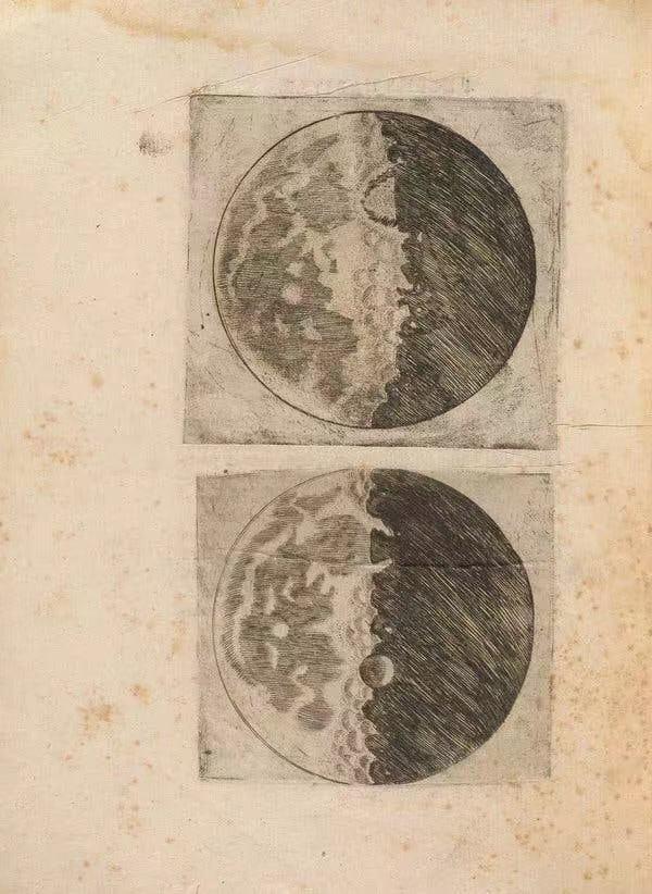 伽利略于1610年发表的月表绘画