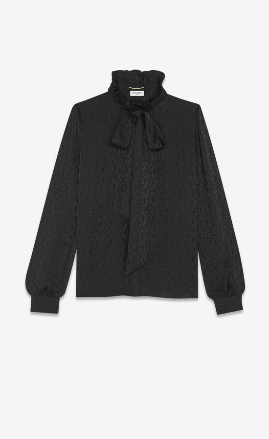 黑色暗花泡泡袖襯衫 Saint Laurent by Anthony Vaccarello ¥13500