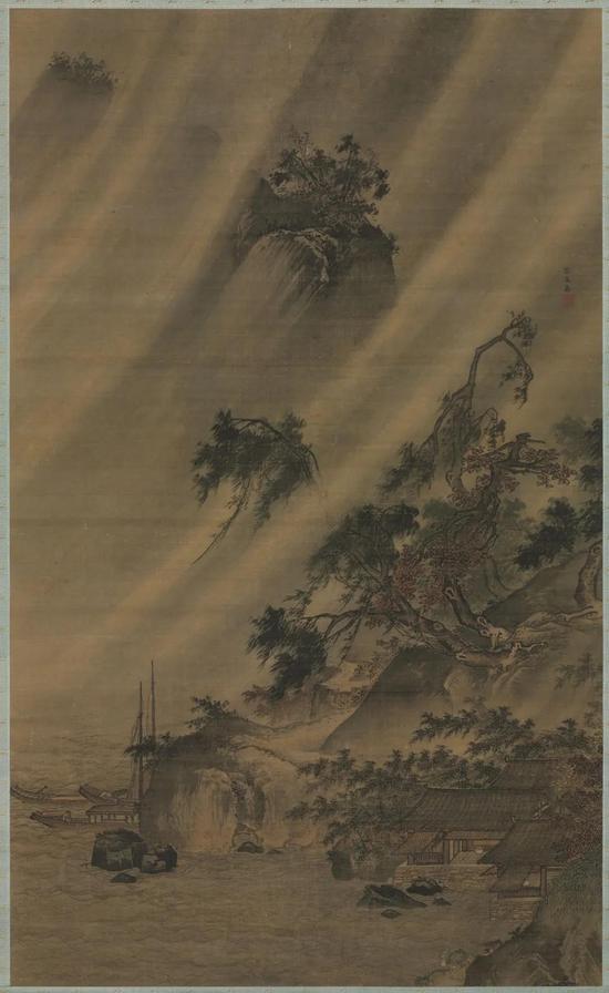 明 吕文英 江村风雨图