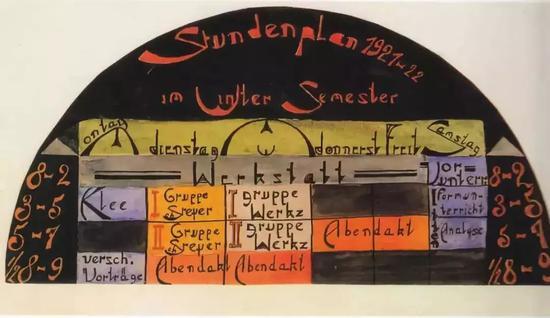 ▲包豪斯的冬季课程表 ©Lothar Schreyer or student of Lothar Schreyer's Class, 1921–1922