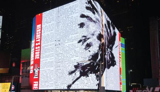 """""""占领""""纽约时代广场的大屏幕,追问""""何处是尽头"""""""