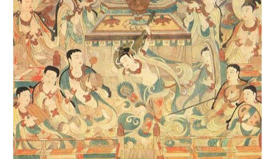 敦煌壁画中也有菩萨畅饮葡萄酒的壁画