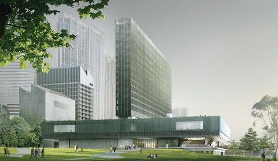香港的M+博物馆将有一个高耸的LED幕墙