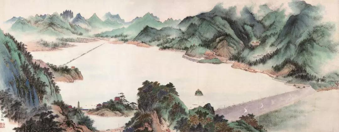 《十三陵水库》 北京中国画院山水组 140×356 cm 纸本设色 北京画院藏
