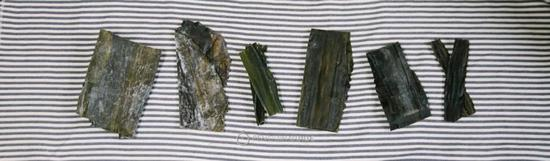 左至右:福建海带,山东海带 真昆布,利尻昆布,罗臼昆布,日高昆布