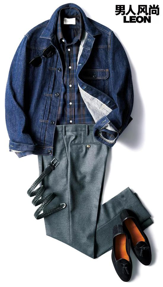 衬衫约2700元 /Cantate、夹克约3000元 /Cantate,裤子约3000元 /PT01,腰带约2400元 /J&M Davidson,鞋约4600元 /BAUDOIN & LANGE,太阳镜约2600 元 /Tomas Maier
