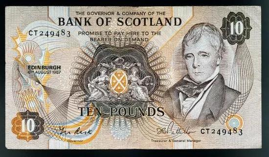 1987年,苏格兰发行纸币纪念沃尔特·司各特逝世150多年。