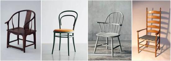 ▲从左到右依次为:明式椅、索涅特椅、温莎椅、夏克椅