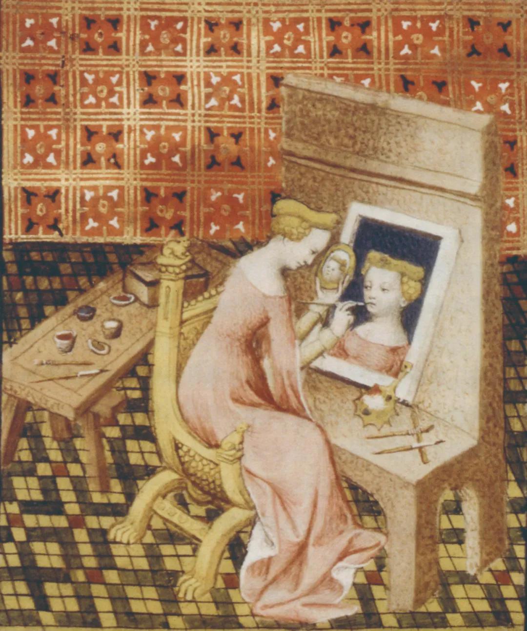 玛西娅画自画像 墨水加上色 1402年 出自薄伽丘《名媛》手抄本