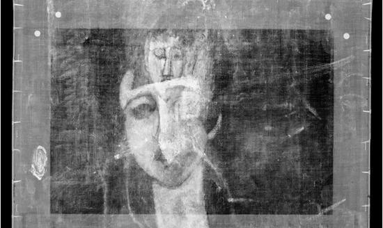 英国泰特美术馆所藏莫迪利亚尼《女孩肖像》的X射线图片