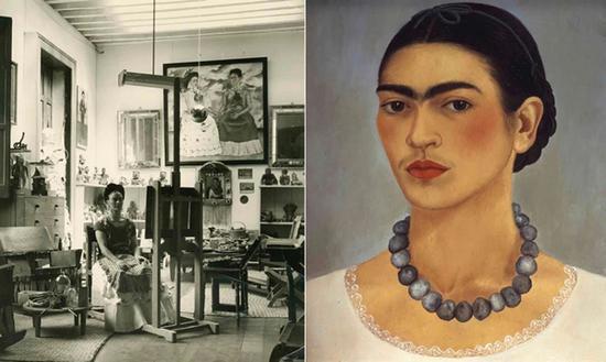 弗里达的工作室和她的自画像。