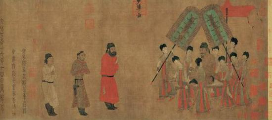 《步辇图》,唐代阎立本作(601-673) ,绢本设色,故宫博物院收藏