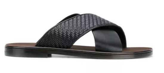 Ermenegildo Zegna 编织皮革交叉条带拖鞋 ¥3,397