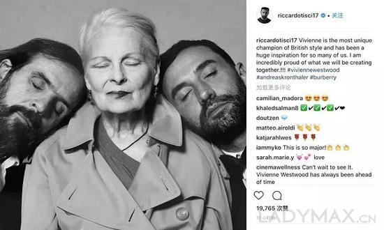 Riccardo Tisci 在其 Instagram 上宣佈將與Vivienne Westwood 展開合作