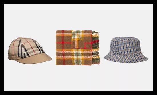 左Gosha x Burberry 格纹棒球帽 ¥1558