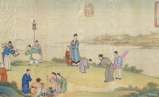 清代 丁观鹏 《太平春市图》卷 台北故宫博物院藏