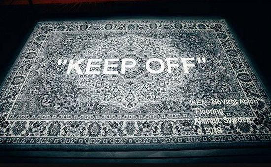 Off-white和宜家合作推出的地毯 图片来源:fashion network