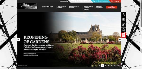卢浮宫宣布将7月6日起重新开放 官网截图