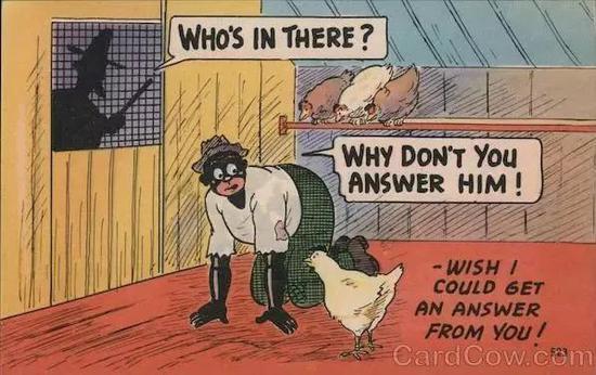 一张嘲笑黑人与鸡的明信片