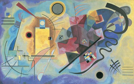 《黃·紅·藍》,1925年,油畫,128厘米×201.5厘米,巴黎:喬治·蓬皮杜中心