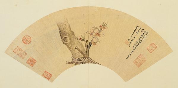 桃花扇面,明,陈洪绶,台北故宫博物院藏。
