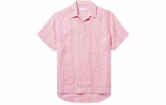 ●Orlebar Brown 的短袖衬衫轻快又复古,很适合度假。