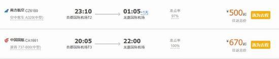 飞机票价格 图片来源自携程