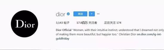 5。Dior(@dior) ——1780萬