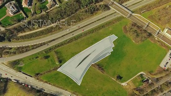 方案图,俯瞰新的总部大楼像几片落叶叠在一起