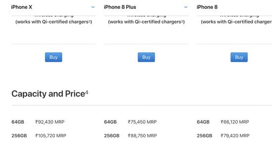 (iPhone X/8 Plus/ 8 在苹果印度官网的售价)