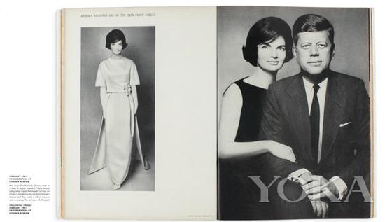 肯尼迪夫妇为《时尚芭莎》拍摄大片,图片来自Diana Vreeland Legacy。