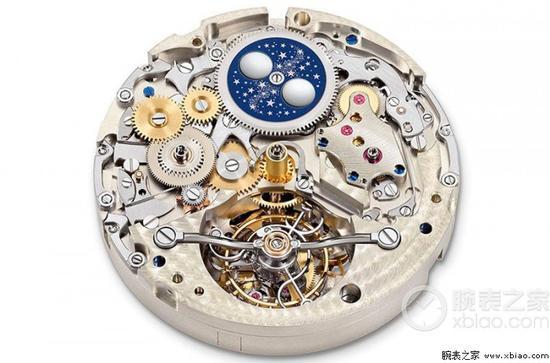 """朗格Tourbograph """"Pour le Mérite""""腕表搭载的恒定动力专利停秒万年历陀飞轮机芯采用半集成化结构"""
