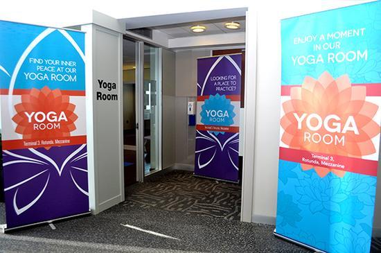 芝加哥奥黑尔机场的瑜伽室,资料图