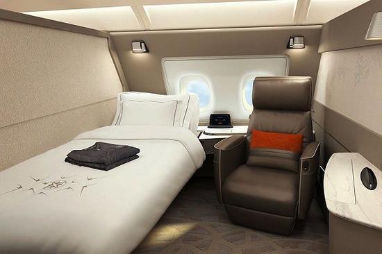 新加坡航空起居室一般的头等舱客舱包厢