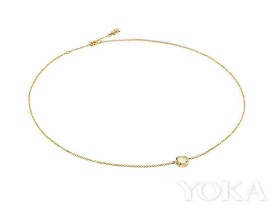 东长珠宝 方圆系列18K黄金和田玉锁骨链,¥ 2999,图片来自东长官方网店。