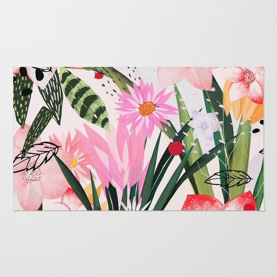 绿色植物元素地毯 图片来源自society6.com
