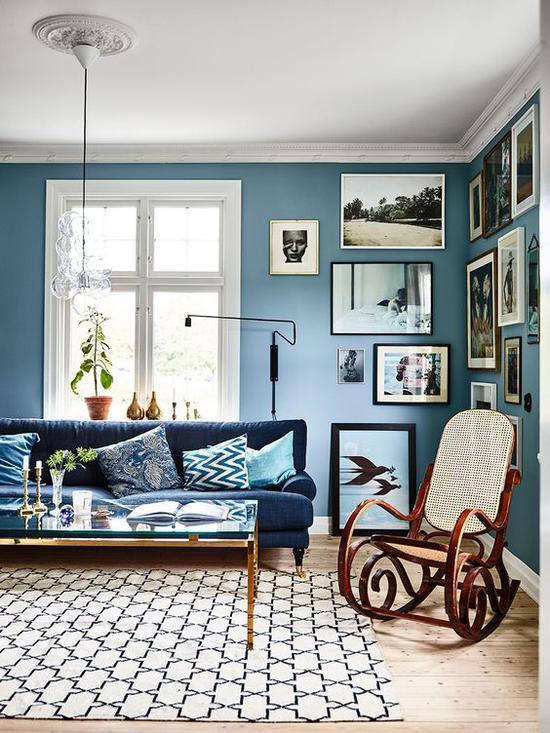蓝色家居设计 图片来源自ROSE & IVY Journal
