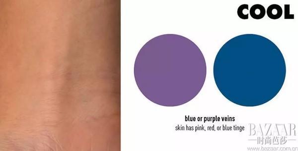 如果你的静脉出现蓝色或紫色,你有一个很酷的冷色调。