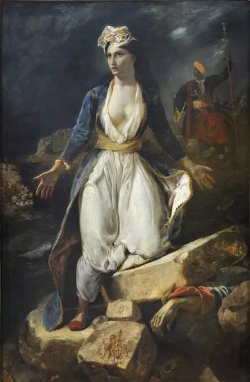 欧仁·德拉克洛瓦,《米索隆基废墟上的希腊》(Greece on the Ruins of Missolonghi, 1826)