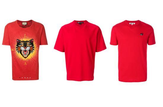 Gucci 红色 全棉 Angry Cat贴花T恤(左),参考价5980元 ;Y-3标志条纹T恤(中),参考价1600元 MCQ ALEXANDER MCQUEEN燕子贴花T恤(右),参考价830元