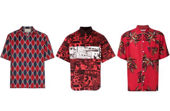 Gucci logo印花衬衫(左),参考价7,893元;Prada漫画印花衬衫(中),参考价8,900元;ZADIG & VOLTAIREShark Hawaii印花衬衫(右),参考价1,950元